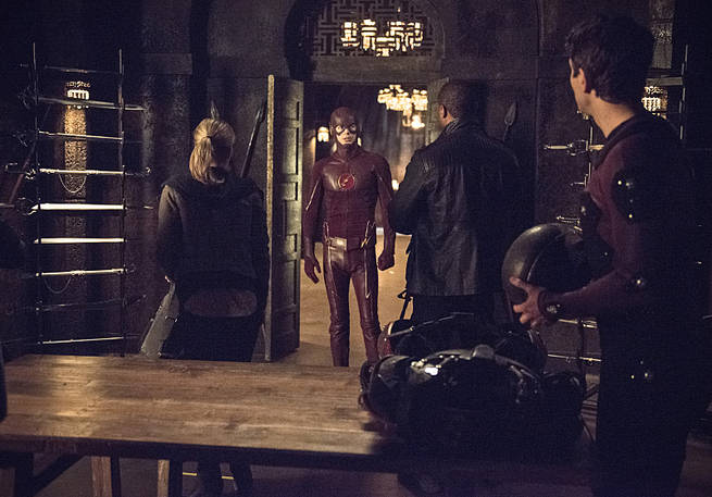 """Arrow -- """"My Name is Oliver Queen"""" -- Image AR323A_0268b -- Pictured: Grant Gustin as Barry Allen / The Flash -- Photo: Cate Cameron/The CW -- © 2015 The CW Network, LLC. All Rights Reserved."""