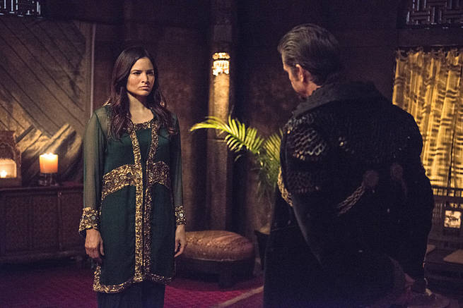 """Arrow -- """"This is Your Sword"""" -- Image AR322A_0011b -- Pictured (L-R): Katrina Law as Nyssa al Ghul and Matt Nable as Ra's al Ghul -- Photo: Cate Cameron/The CW -- © 2015 The CW Network, LLC. All Rights Reserved."""