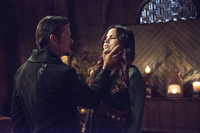 """Arrow -- """"This is Your Sword"""" -- Image AR322A_0008b -- Pictured (L-R): Matt Nable as Ra's al Ghul and Katrina Law as Nyssa al Ghul -- Photo: Cate Cameron/The CW -- © 2015 The CW Network, LLC. All Rights Reserved."""