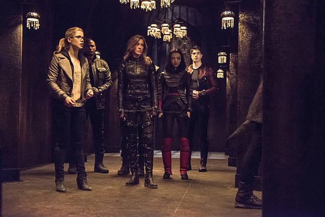 "Arrow -- ""This is Your Sword"" -- Image AR322B_0011b -- Pictured (L-R): Emily Bett Rickards as Felicity Smoak, David Ramsey as John Diggle, Katie Cassidy as Laurel Lance, Rila Fukushima as Tatsu Yamashiro, and Brandon Routh as Ray Palmer -- Photo: Cate Cameron/The CW -- © 2015 The CW Network, LLC. All Rights Reserved."