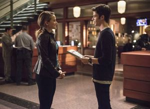 "The Flash -- ""The Fury of Firestorm"" -- FLA204A_0024b -- Pictured (L-R): Shantel VanSanten as Patty Spivot and Grant Gustin as Barry Allen -- Photo: Cate Cameron /The CW -- © 2015 The CW Network, LLC. All rights reserved."