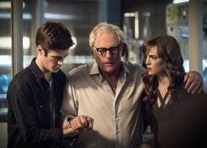 "The Flash -- ""The Fury of Firestorm"" -- FLA204A_0325b -- Pictured (L-R): Grant Gustin as Barry Allen, Victor Garber as Professor Stein and Danielle Panabaker as Caitlin Snow -- Photo: Cate Cameron /The CW -- © 2015 The CW Network, LLC. All rights reserved."