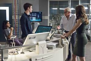 "The Flash -- ""The Fury of Firestorm"" -- FLA204A_0074b -- Pictured (L-R): Carlos Valdes as Cisco Ramon, Grant Gustin as Barry Allen, Victor Garber as Professor Stein and Danielle Panabaker as Caitlin Snow-- Photo: Cate Cameron /The CW -- © 2015 The CW Network, LLC. All rights reserved."