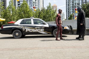 """The Flash -- """"The Man Who Saved Central City"""" -- Image FLA201a_0175b3 -- Pictured (L-R): Grant Gustin as The Flash and Adam Copeland as Atom-Smasher -- Photo: Cate Cameron /The CW -- © 2015 The CW Network, LLC. All rights reserved"""