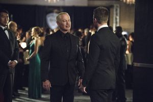 "Arrow -- ""Brotherhood"" -- Image AR407B_244b.jpg -- Pictured: Neal McDonough as Damien Darhk and Stephen Amell as Oliver Queen -- Photo: Cate Cameron/The CW -- © 2015 The CW Network, LLC. All Rights Reserved."