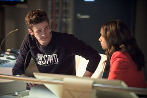 """The Flash -- """"Gorilla Warfare"""" -- Image FLA207B_0243b.jpg -- Pictured (L-R): Grant Gustin as Barry Allen and Candice Patton as Iris West -- Photo: Cate Cameron/The CW -- © 2015 The CW Network, LLC. All rights reserved."""