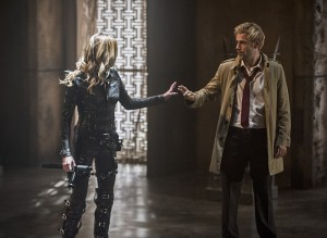 "Arrow -- ""Haunted"" -- Image AR404B_0196b.jpg -- Pictured (L-R) Katie Cassidy as Laurel Lance and Matt Ryan as Constantine -- Photo: Cate Cameron/ The CW -- © 2015 The CW Network, LLC. All Rights Reserved."