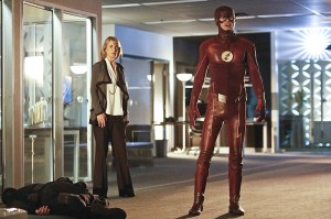 """The Flash -- """"The Reverse Flash Returns"""" -- Image FLA211b_0188b -- Pictured (L-R): Grant Gustin as The Flash and Amanda Pays as Christina McGee -- Photo: Bettina Strauss/The CW -- © 2016 The CW Network, LLC. All rights reserved."""