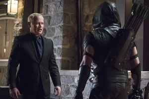 "Arrow -- ""Blood Debts"" -- Image AR410a_0167b.jpg -- Pictured (L-R): Neal McDonough as Damien Darhk and Stephen Amell as The Arrow -- Photo: Katie Yu/ The CW -- © 2015 The CW Network, LLC. All Rights Reserved."
