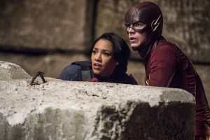 "The Flash -- ""Welcome to Earth-2"" -- Image FLA213a_0078b -- Pictured (L-R): Candice Patton as Earth 2 Iris West and Grant Gustin as The Flash -- Photo: Diyah Pera/The CW -- © 2016 The CW Network, LLC. All rights reserved."