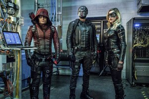 """Arrow -- """"Unchained"""" -- Image AR412A_0089.jpgb -- Pictured (L-R): Colton Haynes as Arsenal, David Ramsey as John Diggle and Katie Cassidy as Black Canary -- Photo: Liane Hentscher/ The CW -- © 2016 The CW Network, LLC. All Rights Reserved."""