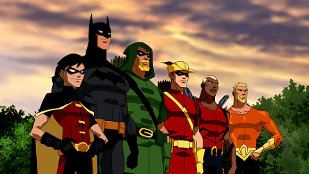 Robin, Speedy and Aqualad are about to enter The Hall of Justice with mentors Batman, Green Arrow and Aquaman.