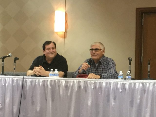 Burt Ward and Adam West greet eager fans at the Batman 50th Anniversary panel.