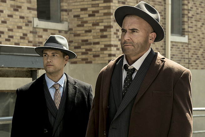 "DC's Legends of Tomorrow --""The Justice Society of America""-- Image LGN202a_0074.jpg -- Pictured (L-R): Nick Zano as Nate Heywood and Dominic Purcell as Mick Rory/Heat Wave -- Photo: Katie Yu/The CW -- © 2016 The CW Network, LLC. All Rights Reserved."