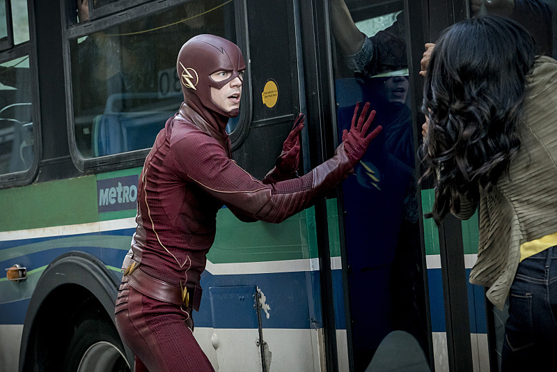 "The Flash -- ""Monster"" -- Image FLA305a_0092b.jpg -- Pictured (L-R): Grant Gustin as The Flash and Candice Patton as Iris West  -- Photo: Katie Yu/The CW -- © 2016 The CW Network, LLC. All rights reserved."