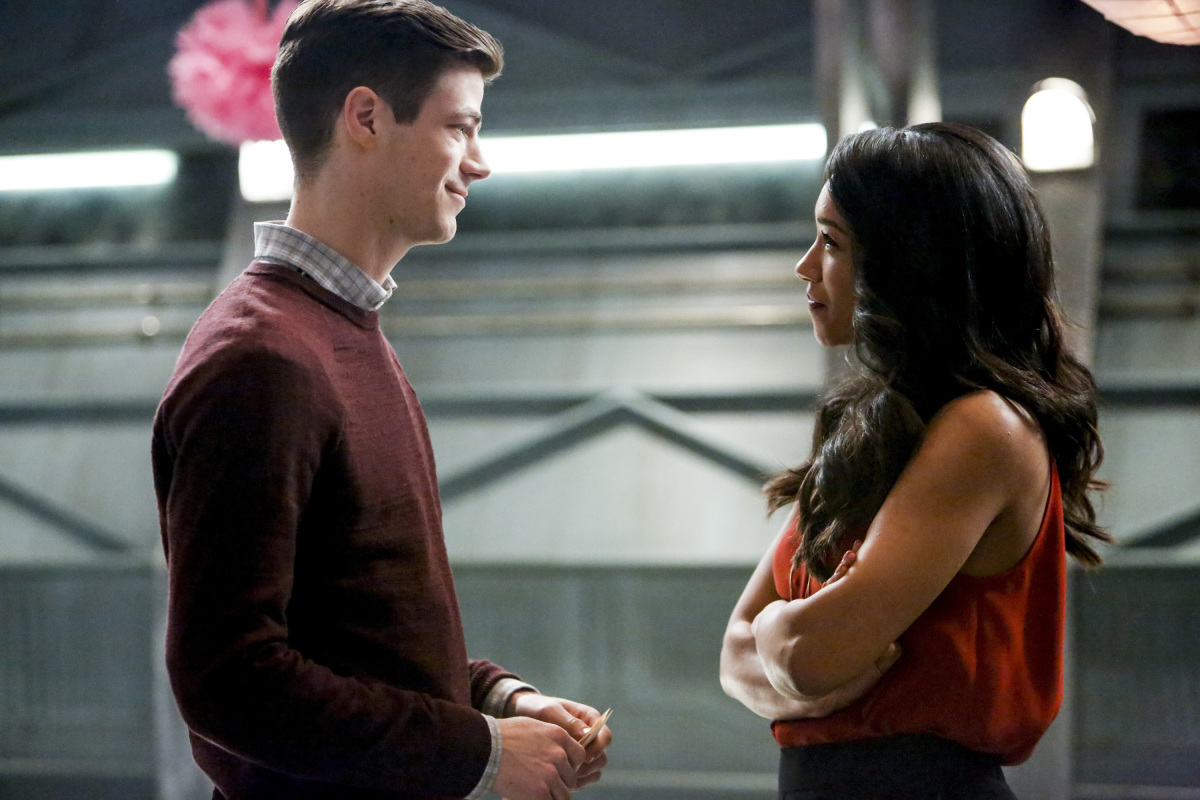 "The Flash -- ""Attack on Central City"" -- FLA314b_0141b.jpg -- Pictured (L-R): Grant Gustin as Barry Allen and Candice Patton as Iris West -- Photo: Bettina Strauss/The CW -- © 2017 The CW Network, LLC. All rights reserved."