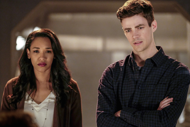 "The Flash -- ""The Wrath of Savitar"" -- FLA315a_0038b.jpg -- Pictured (L-R): Candice Patton as Iris West and Grant Gustin as Barry Allen -- Photo: Bettina Strauss/ The CW -- © 2017 The CW Network, LLC. All rights reserved."