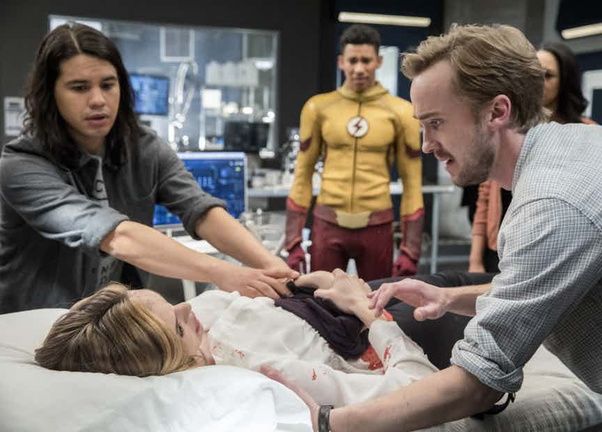 "The Flash -- ""Abra Kadabra"" -- FLA318c_0137b.jpg -- Pictured (L-R): Carlos Valdes as Cisco Ramon, Danielle Panabaker as Caitlin Snow, Keiynan Lonsdale as Wally West and Tom Felton as Julian Albert -- Photo: Jack Rowand/The CW -- © 2017 The CW Network, LLC. All rights reserved."