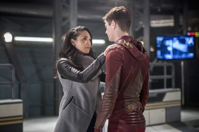 """The Flash -- """"Infantino Street"""" -- FLA322a_0271b.jpg -- Pictured (L-R): Candice Patton as Iris West and Grant Gustin as Barry Allen -- Photo: Dean Buscher /The CW -- © 2017 The CW Network, LLC. All rights reserved."""