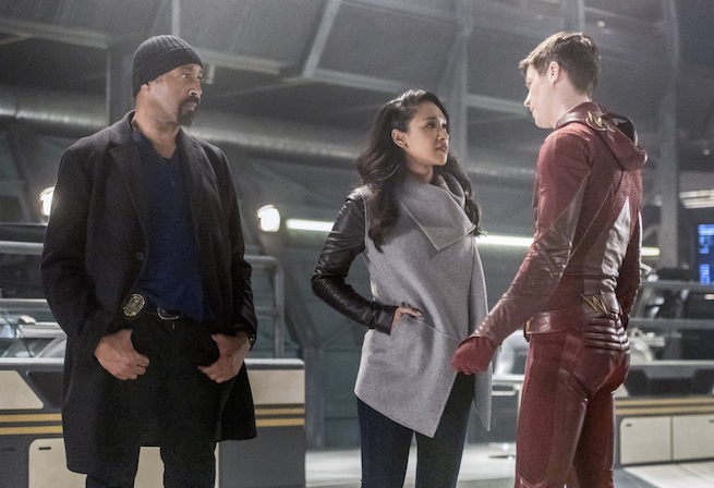 """The Flash -- """"Infantino Street"""" -- FLA322a_0288b.jpg -- Pictured (L-R): Jesse L. Martin as Detective Joe West, Candice Patton as Iris West and Grant Gustin as Barry Allen -- Photo: Dean Buscher /The CW -- © 2017 The CW Network, LLC. All rights reserved."""