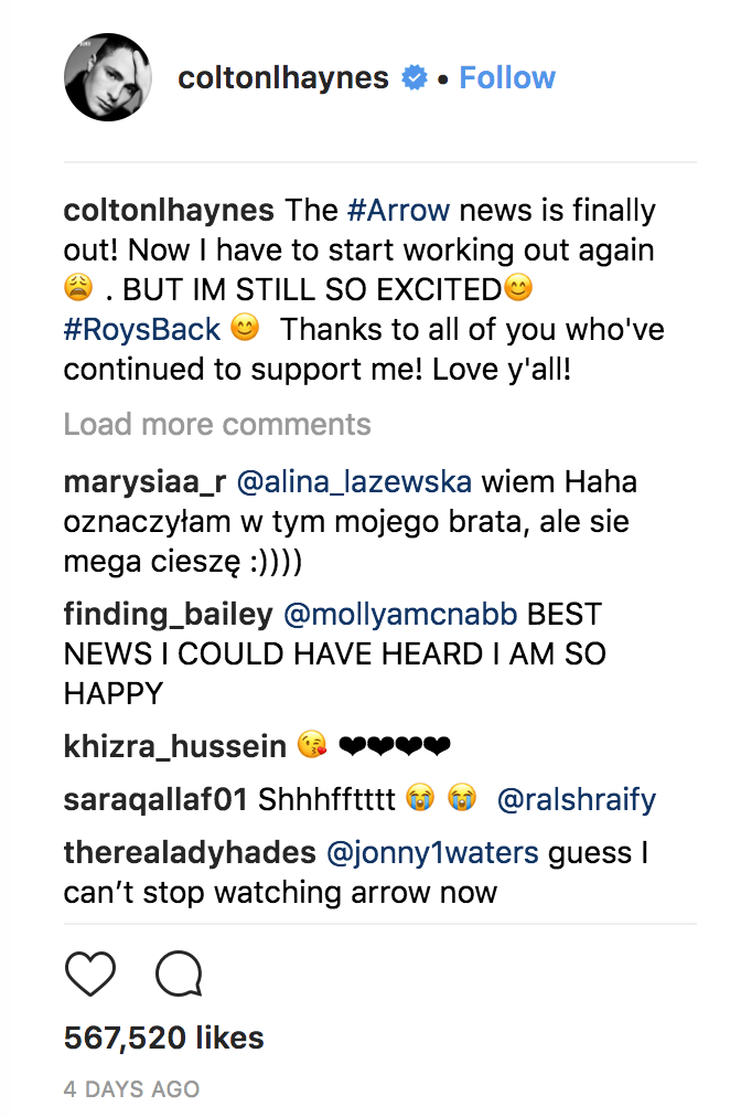 Colton Hayes arrow season 7 dc comics news