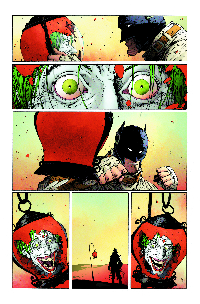 Batman punching the lantern that contains Jokers head