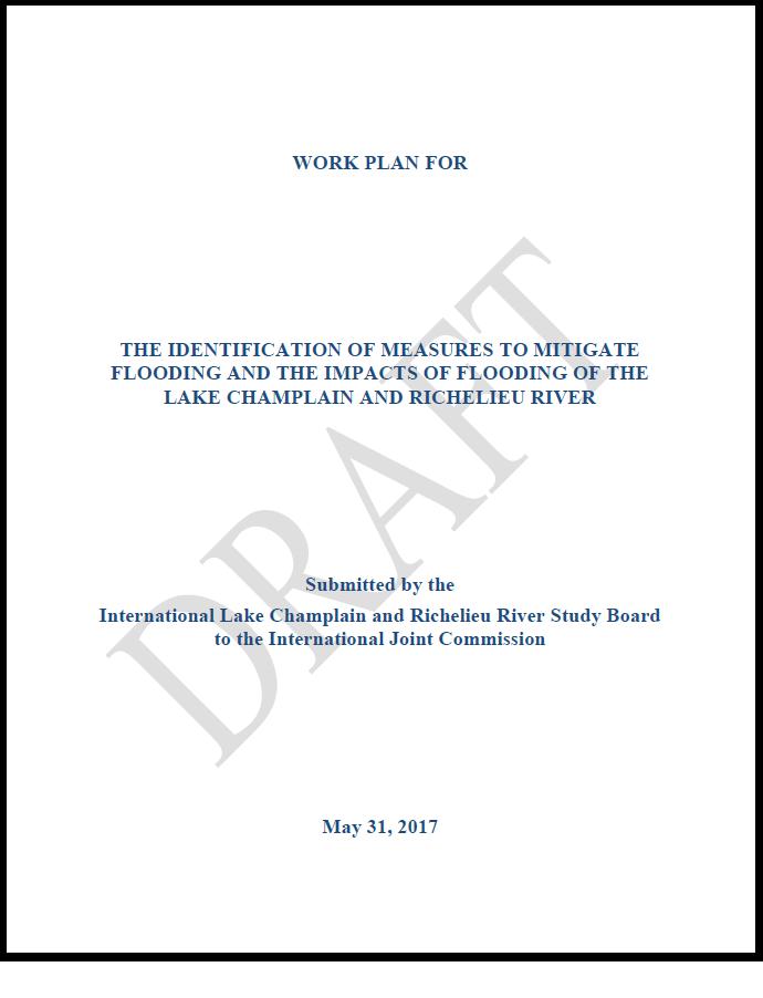 Draft Work Plan of the Lake Champlain-Richelieu River Study Board ...