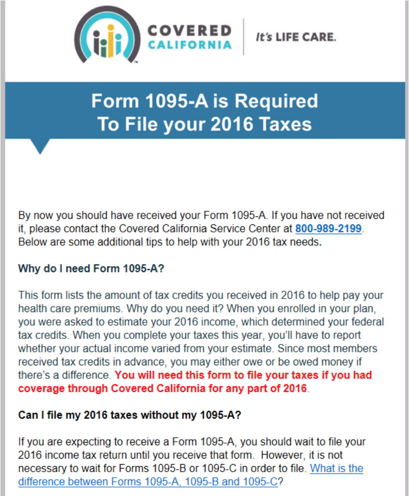 Covered California Sends 1095-A Reminder Notices - Health for ...