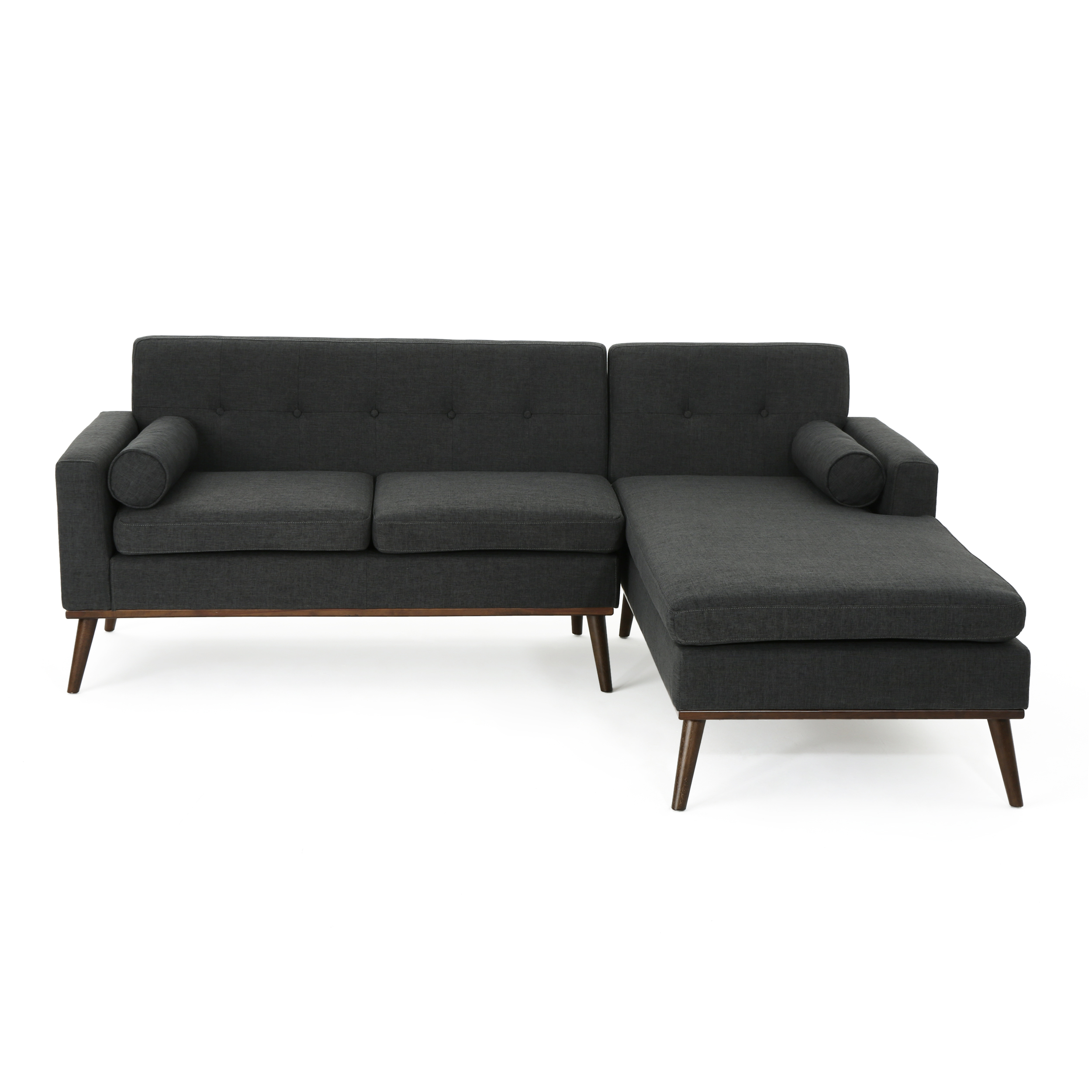 Details About Sophia Mid Century Modern 2 Piece Fabric Sectional Sofa And Lounge Set