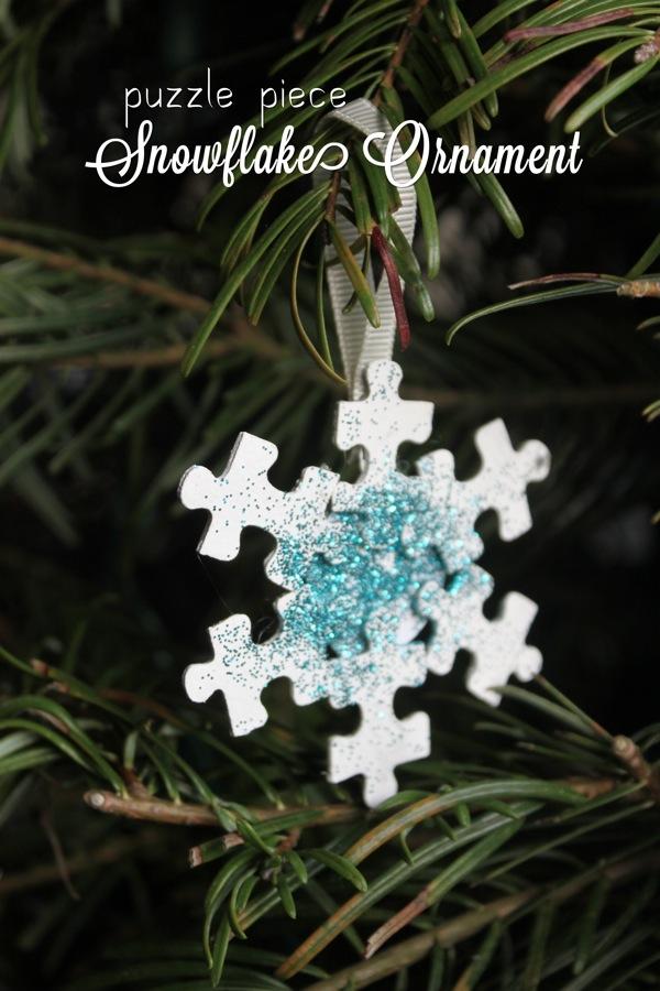 Puzzle Piece Snowflake Ornament MamaPapaBubba