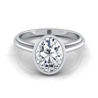 Oval Diamond Solitaire Bezel Set Engagement Ring 14k White