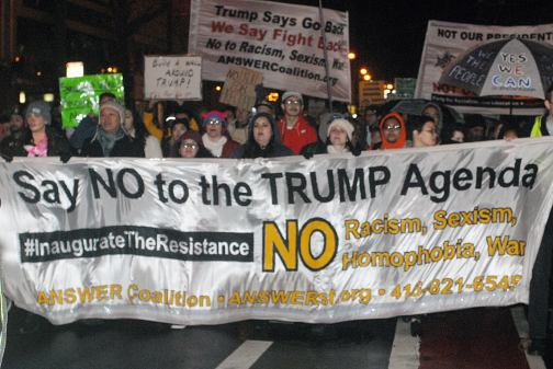 About a thousand people marched through San Francisco on Friday night in a peaceful protest against new U.S. President Donald Trump on Friday, January 20, 2017.