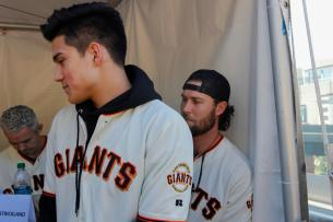 Marcos Llerena,18, gets his jersey signed by Hunter Strickland (60) at AT&T Park on Feb. 11, 2017.