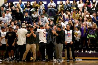 Fans cheer as the SF State Gators take on the Cal State LA Golden Eagles in a CCAA first round playoff game at SF State University in San Francisco, Calif., on Tuesday, February 28, 2017.