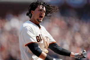 San Francisco Giants right fielder Jarrett Parker (6) reacts after scoring in the fourth inning as the Arizona Diamondbacks face the San Francisco Giants on opening day at AT&T Park in San Francisco, Calif., on Monday, April 10, 2017.