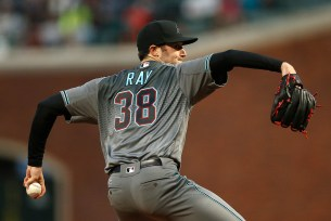 Arizona Diamondbacks starting pitcher Robbie Ray (38) throws a pitch in the first inning as the Arizona Diamondbacks face the San Francisco Giants at AT&T Park in San Francisco, Calif., on Tuesday April 11, 2017.