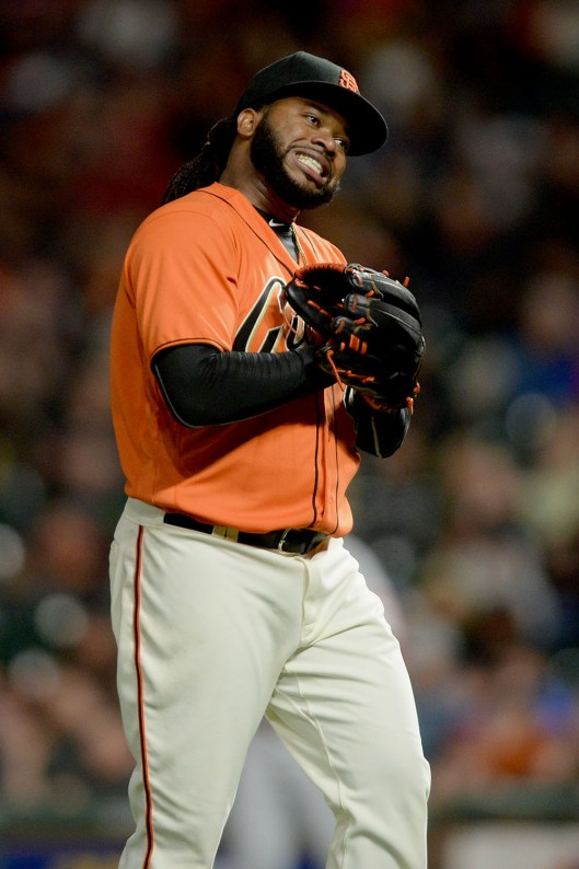 San Francisco Giants starting pitcher Johnny Cueto (47) reacts after ending the eighth inning as the Cincinnati Reds face the San Francisco Giants at AT&T Park in San Francisco, Calif., on Friday, May 12, 2017.