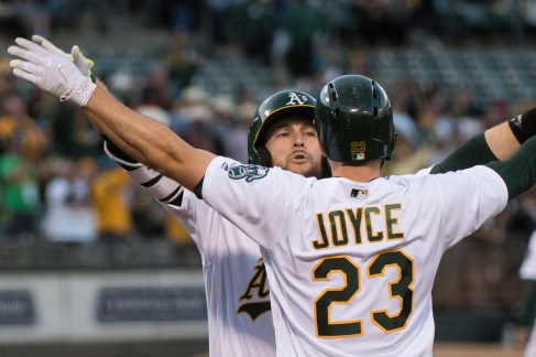 Oakland Athletics second baseman Jed Lowrie (8) celebrates with right fielder Matt Joyce (23) after hitting a two-run home run in the first inning of the game against the Boston Red Sox at the Oakland Coliseum in Oakland, Calif., on May 18, 2017.