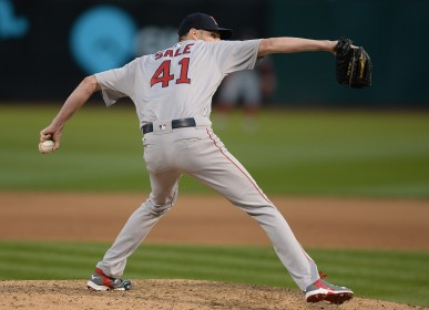 Boston Red Sox pitcher Chris Sale (41) throws a pitch in the fifth inning as the Boston Red Sox face the Oakland Athletics at Oakland Coliseum in Oakland, Calif., on Friday, May 19, 2017.