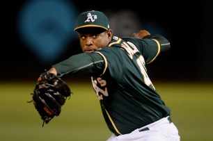 Oakland Athletics relief pitcher Santiago Casilla (46) throws a pitch in the ninth inning and records a save in the 4-1 victory over the Toronto Blue Jays at Oakland Coliseum in Oakland, Calif., on Tuesday, June 6, 2017.