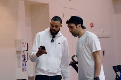 Golden State Warriors C JaVale McGee (1) shows C Zaza Pachulia (27) his phone during the Warriors end-of-season media session at their practice facility in Oakland, Calif. on Wednesday, Jun. 14, 2017. On Monday, the Warriors beat the Cleveland Cavaliers to win the NBA Finals.