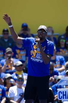 Kevin Durant talks about his season with the Warriors at the Golden State Warriors 2017 NBA Championship rally in Oakland, Calif., on Thursday, June 15, 2017. (Brian Churchwell/SFBay)