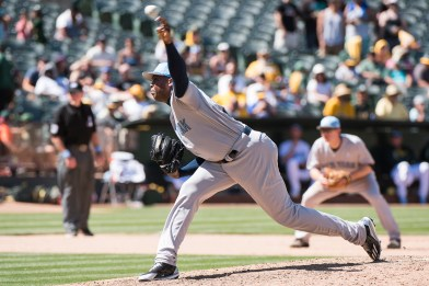 New York Yankees pitcher Aroldis Chapman (54) pitches in the eighth inning of the game against the Oakland Athletics at the Oakland Coliseum in Oakland, Calif., on June 18, 2017.
