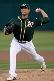 Oakland Athletics starting pitcher Sean Manaea (55) throws a pitch in the first inning as the Houston Astros face the Oakland Athletics at Oakland Coliseum in Oakland, Calif., on Wednesday, June 21, 2017.