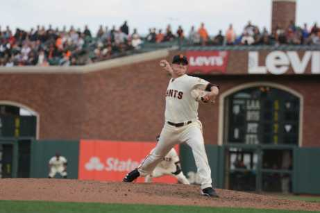 San Francisco Giants pitcher Kyle Crick (59) throws a pitch in the ninth inning for his AT&T Park pitching debut as the New York Mets face the San Francisco Giants at AT&T Park in San Francisco, Calif., on Friday, June 24, 2017.