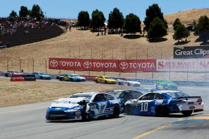 Monster Energy NASCAR Cup Series driver Danica Patrick (10) gets into an accident at the Toyota/Save Mart 350 at Sonoma Raceway in Sonoma, Calif., on Sunday, June 24, 2017.