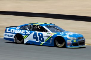 Monster Energy NASCAR Cup Series driver Jimmie Johnson (48) gets on the gas out of the corner at the Toyota/Save Mart 350 at Sonoma Raceway in Sonoma, Calif., on Sunday, June 24, 2017.
