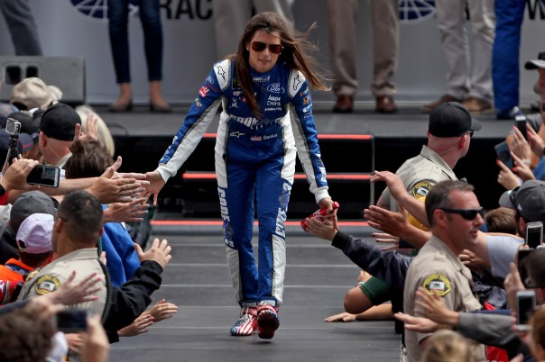 Monster Energy NASCAR Cup Series driver Danica Patrick (10) greets fans at the Toyota/Save Mart 350 at Sonoma Raceway in Sonoma, Calif., on Sunday, June 24, 2017.