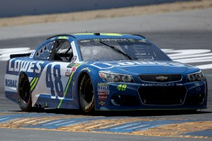 Monster Energy NASCAR Cup Series driver Jimmie Johnson (48) pulls out of the corner at the Toyota/Save Mart 350 at Sonoma Raceway in Sonoma, Calif., on Sunday, June 24, 2017.