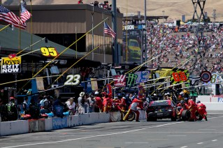 Monster Energy NASCAR Cup Series driver Dale Earnhardt Jr. (88) makes a late pit stop at the Toyota/Save Mart 350 at Sonoma Raceway in Sonoma, Calif., on Sunday, June 24, 2017.